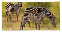 Zebras South Luangwa Hand Towel by David Stribbling