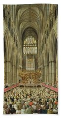 An Interior View Of Westminster Abbey On The Commemoration Of Handel's Centenary Hand Towel by Edward Edwards