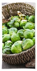 Basket Of Brussels Sprouts Hand Towel by Elena Elisseeva