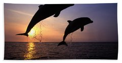 Bottlenose Dolphins Hand Towel by Francois Gohier and Photo Researchers
