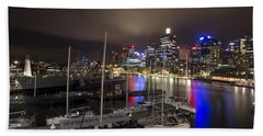 Darling Harbor Sydney Skyline 2 Hand Towel by Douglas Barnard