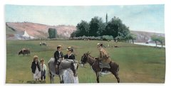 Donkey Ride Hand Towel by Camille Pissarro