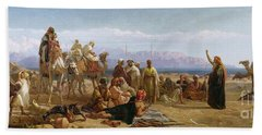 Early Morning In The Wilderness Of Shur Hand Towel by Frederick Goodall