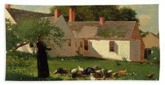 Farmyard Scene Hand Towel by Winslow Homer