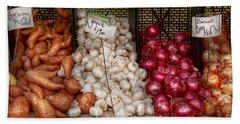 Food - Vegetable - Sweet Potatoes-garlic- And Onions - Yum  Hand Towel by Mike Savad