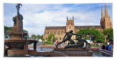 Hyde Park Fountain And St. Mary's Cathedral Hand Towel by Kaye Menner