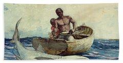 Shark Fishing Hand Towel by Winslow Homer