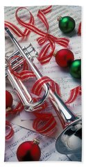 Silver Trumper And Christmas Ornaments Hand Towel by Garry Gay