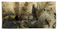 U.s. Army Specialist Takes A Nap Hand Towel by Stocktrek Images