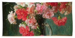 Still Life Of Carnations   Hand Towel by Emile Vernon