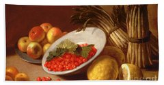 Still Life Of Raspberries Lemons And Asparagus  Hand Towel by Italian School