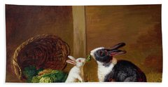 Two Rabbits Hand Towel by H Baert