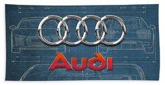 Audi 3 D Badge Over 2016 Audi R 8 Blueprint Hand Towel by Serge Averbukh