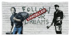 Banksy - The Tribute - Follow Your Dreams - Steve Jobs Hand Towel by Serge Averbukh