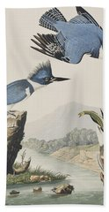 Belted Kingfisher Hand Towel by John James Audubon