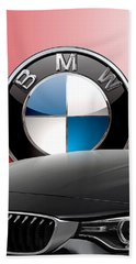 Black B M W - Front Grill Ornament And 3 D Badge On Red Hand Towel by Serge Averbukh