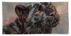 Black Leopard Hand Towel by David Stribbling