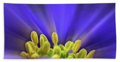 blue Shades - An Anemone Blanda Hand Towel by John Edwards