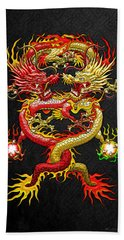 Brotherhood Of The Snake - The Red And The Yellow Dragons Hand Towel by Serge Averbukh