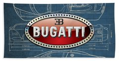 Bugatti 3 D Badge Over Bugatti Veyron Grand Sport Blueprint  Hand Towel by Serge Averbukh
