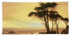 California Coast Hand Towel by Albert Bierstadt