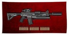Colt  M 4 A 1  S O P M O D Carbine With 5.56 N A T O Rounds On Red Velvet  Hand Towel by Serge Averbukh