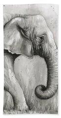 Elephant Watercolor Hand Towel by Olga Shvartsur
