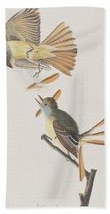 Great Crested Flycatcher Hand Towel by John James Audubon