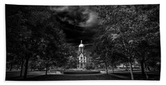 Notre Dame University Black White Hand Towel by David Haskett