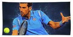 Novak Djokovic Hand Towel by Semih Yurdabak