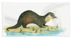 Otter Hand Towel by Juan Bosco