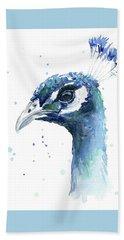 Peacock Watercolor Hand Towel by Olga Shvartsur