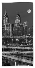 Philly Skyline Full Moon Hand Towel by Susan Candelario