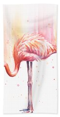 Pink Flamingo Watercolor Rain Hand Towel by Olga Shvartsur