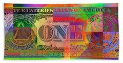 Pop-art Colorized One U. S. Dollar Bill Reverse Hand Towel by Serge Averbukh