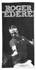 Roger Federer Hand Towel by Semih Yurdabak