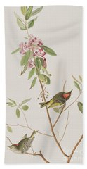 Ruby Crowned Wren Hand Towel by John James Audubon