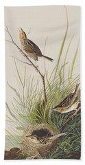Sharp Tailed Finch Hand Towel by John James Audubon