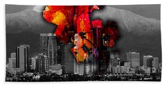 Los Angeles Map And Skyline Hand Towel by Marvin Blaine