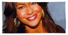 Sofia Vergara Art Print Hand Towel by Best Actors
