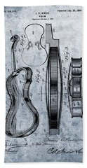 1899 Violin Blue Patent Hand Towel by Dan Sproul