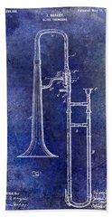 1902 Trombone Patent Blue Hand Towel by Jon Neidert