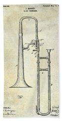 1902 Trombone Patent Hand Towel by Jon Neidert