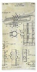 1939 Trumpet Patent Hand Towel by Jon Neidert