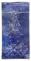 1956 Helicopter Patent Blue Hand Towel by Jon Neidert