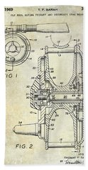 1969 Fly Reel Patent Hand Towel by Jon Neidert