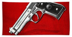 Beretta 92fs Inox Over Red Leather  Hand Towel by Serge Averbukh