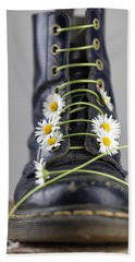 Boots With Daisy Flowers Hand Towel by Nailia Schwarz