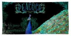 Elegant Peacock W Vintage Scrolls  Hand Towel by Audrey Jeanne Roberts