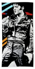 Elvis Hand Towel by Luis Ludzska